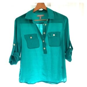 turquoise button blouse